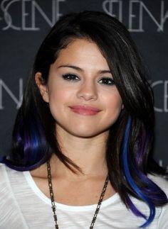selena gomez blue hair streaks