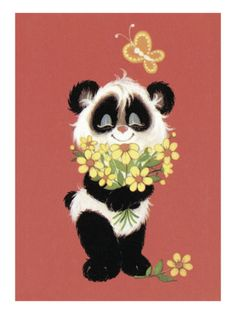 Panda with flowers Poster by Pop Ink - CSA Images at AllPosters.com
