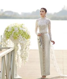 Image may contain: 1 person Thai Wedding Dress, Hijab Wedding Dresses, Wedding Dress Styles, Bridal Dresses, Wedding Gowns, Bridesmaid Dresses, Lace Wedding, Myanmar Traditional Dress, Thai Traditional Dress