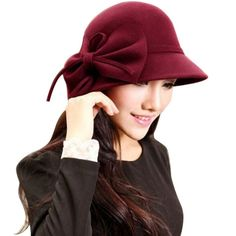 3804cf4a89ba1 Elegant Women Hat Autumn Winter Women Vintage Solid Fedora Hat Bowknot Retro  Casual Cap Wide Brim