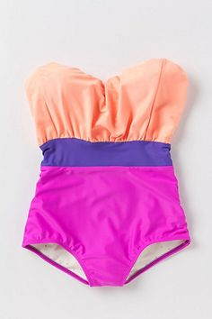 color blocked swimsuit.