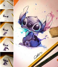 Stich loves you - pen by CKibe on DeviantArt I was particularly excited yesterday when I uploaded a video. Give me a piece of paper and a pen an Disney Stitch Tattoo, Disney Tattoos, Cute Stitch, Lilo And Stitch, Cute Disney Drawings, Cute Drawings, Arte Disney, Disney Art, Toothless And Stitch
