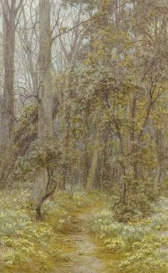The Primrose Path at Farringford, Tennyson's house on the Isle of Wight, painted by Helen Allingham (1848-1926), c1880-1895