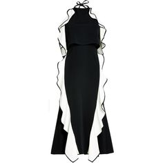 Jonathan Simkhai Crepe Midi Dress ($915) ❤ liked on Polyvore featuring dresses, black, halter neck dress, midi dress, cut out midi dress, cut-out dresses and fit-and-flare midi dresses