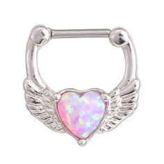 Product Information - Product Type: Clicker in Surgical Stainless Steel - Gauge Size: 16 Gauge - Total Size: - Wearable Clicker Bar Length: Pink Opal Heart Angel Wings Silver 16 Gauge Septum Ring Clicker Piercing Jewelry Jewellery Hoop Rook Daith Earring Septum Piercing Jewelry, Daith Earrings, Septum Piercings, Septum Ring, Septum Clicker, Bridesmaid Earrings, Bridal Earrings, Crystal Earrings, Statement Earrings