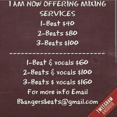 Mixing services for more info Email bbangersbeats@gmail.com