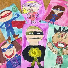 "15 Likes, 2 Comments - DSESArt- Miss McFee (@mcfeesartstudio) on Instagram: ""Superheroes by fabulous second graders!"""