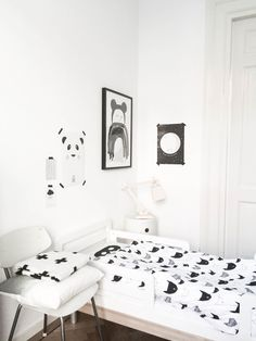 Beau's Room: Oeuf NYC Classic Toddler bed, Pax & Hart Crying Mini poster, Eef Lillemor Panda Love Poster, Pia Walen Cross blanket, Beau Loves bedding, Kartell Nightstand, Muuto Wooden Lamp