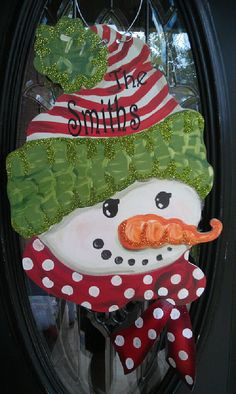 Fun and Funky ART for your Door! Let this Snowman welcome your guest this Christmas Season. You will receive many compliments on this one. Lots of detail Christmas Door, Christmas Snowman, Winter Christmas, All Things Christmas, Christmas Wreaths, Christmas Decorations, Christmas Ornaments, Snowman Door, Wood Snowman