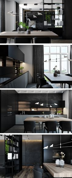 Light on there is find and save idea about black color interior design. Black interior design idea, black home, black lively. Black create the power, simple and special depressing. Black Interior Design, Salon Interior Design, Apartment Interior Design, Living Room Interior, Modern Interior, Interior Decorating, Modern Furniture, Light Wood Dining Table, Dining Room
