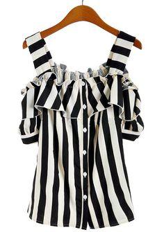 Black White Vertical Stripe Ruffles Chiffon Blouse - Sheinside.com