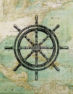 Vintage Nautical Map with Ships Wheel Quilting Fabric Block