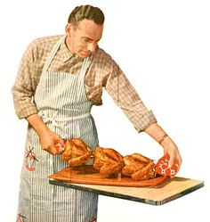 Retro clipart: man with cornish game hens.