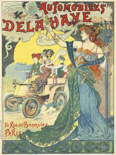 Artist: A. TRINQUIER-TRIANON Size: 37 x 50 in./94 x 126.8 cm J. Barreau, Paris An elaborate and colorful Art Nouveau design targeting the burgeoning female market, this poster is one of the earliest on record for the Delahaye automobile company. Although unsigned, it has recently been discovered that Trinquier-Trianon is the artist behind the poster.