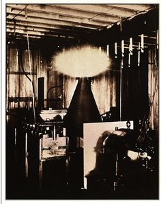 """""""Tesla coil for ascertaining and discharging the electricity of the Earth. The apparatus in action illustrates the first step in the development of the Magnifying Transmitter in the Laboratory at 35 So. Fifth Avenue."""""""