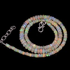 "54CRTS 4to6.5MM 17.5"" ETHIOPIAN OPAL FACETED RONDELLE BEADS NECKLACE OBI3131 #OPALBEADSINDIA"