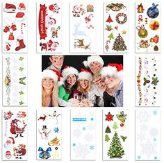 12 Sheet Christmas Temporary Tattoos Sticker For Pary Kids Fake Glitter Tattoo Supplies. 12 sheet multicolor adorable christmas tattoos. Easy to apply with water and can be removed by rubbing alcohol, body oil, olive oil. High quality control meet the regid safely and non toxic standard. Great christmas idea, make your christmas holiday party lovely and naughty. For more wedding jewelry and party decorations, please visit Nymph Code store.