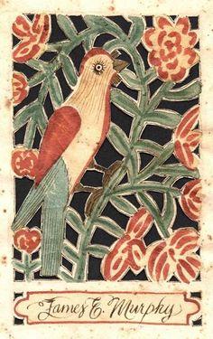 design made of cutwork bird perched on stem of flowers c. 1830 (treebystream)