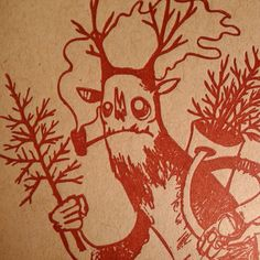 Krampus pack of 5 letterpress card set by glassheartpress on Etsy