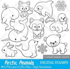 Arctic Animals Digital Stamps Clipart par pixelpaperprints