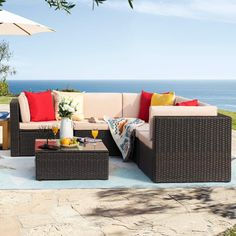 Homall 6 Pieces Patio Furniture Sets Outdoor Sectional Sofa All Weather PE Rattan Patio Conversation Set Manual Wicker Couch with Cushions and Glass Table (Beige) -- (paid link) More info could be found at the image url.
