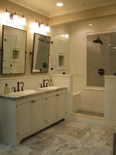 Great #transitional #tile #bathroom