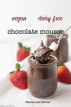 Dairy-Free Chocolate Mousse – Flavour and Savour Paleo Chocolate Mousse. Dairy-free and Vegan too. This chocolate mousse is silky smooth, decadent and delicious. Made with avocado, cacao (or cocoa) and naturally sweetened, it's guilt-free. Chocolate Mouse, Dairy Free Chocolate, Chocolate Desserts, Cocoa Chocolate, Mousse, Paleo Dessert, Dessert Recipes, Vegan Desserts, Avocado Dessert