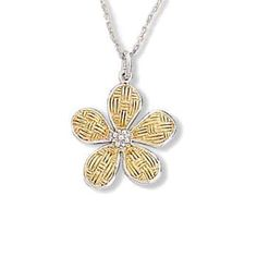 Sterling Silver Flower Design Pendant with chain #jewelry