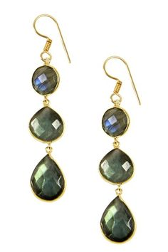 green shimmer drop earrings
