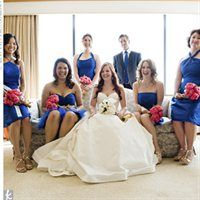 Royal blue BMs with fuschia pink bouquets? - Flowers