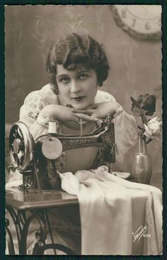 Lady and Sewing Machine Original Vintage Old 1920s Antique Photo Postcard A2 | eBay
