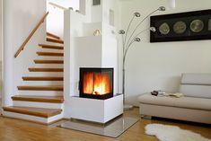 Heizkamin mit Ecksichtfenster Dream Home Design, Home Interior Design, House Design, Open Stairs, Log Burner, Home Reno, Future House, Farmhouse Style, Sweet Home
