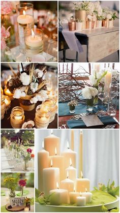 Wedding Centerpiece ideas: Candles & Lace