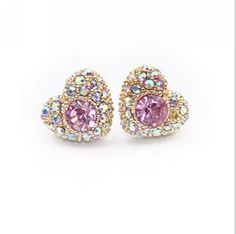 1f140ec82eb4d0 High Quality 2015 New Trendy Cute Gold Plated Heart Shaped Rhinestone Stud  Earrings for Women Ladies Girls Rhinestone Jewelry-in Stud Earrings from  Jewelry ...
