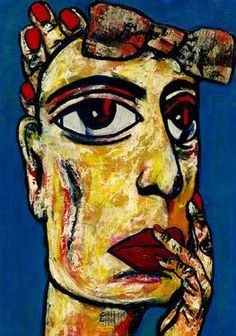 "Saatchi Art Artist CARMEN LUNA; Painting, ""86-RETRATOS Expresionistas. Cotton."" #art http://www.saatchiart.com/art-collection/Painting-Assemblage-Collage/Expressionist-Portrait/71968/51263/view"