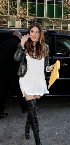 844ce649cb3 Khloe Kardashian in knee high leather boots. She looks gorgeous. Thigh High  Boots