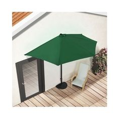 Green Half Round Parasol Garden Terrace Umbrella Sun Shade Shelter Patio Decor