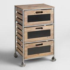 Wood and Metal 3-Drawer Mackenzie Rolling Cart - v1