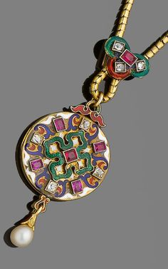 A gold, enamel, ruby and diamond Holbeinesque pendant/locket, circa 1870.  The circular plaque decorated with white, blue, red and green enamel scrolls and set with cushion-shaped diamonds and rubies, suspending a capped pearl, the reverse engraved with foliate detail, to a snake-link chain accented with a similarly-decorated slide, some enamel loss, lengths: necklace 43.0cm, pendant 4.5cm, pearl untested