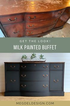 Want to get this look? Check out my simple step-by-step process to using milk paint by Shackteau Interiors in black beach. The copper accents, new stained top, and lined drawers really bring it all… Cheap Furniture Makeover, Diy Furniture Renovation, Diy Furniture Projects, Furniture Design, Garden Furniture, Bedroom Furniture, Furniture Redo, Milk Paint Furniture, Furniture Refinishing