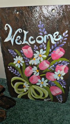 Hand Painted Floral Welcome Sign on Slate