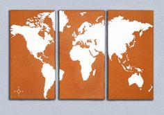 World Map Triptych Canvas Giclee  Retro Orange and by ModernCanvas, $185.00