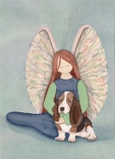 Bassett hound with angel / Lynch signed fok art print by watercolorqueen on Etsy
