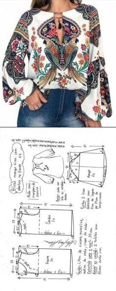 "Blusa manga sino com abertura em ""V"" Blouse Patterns, Clothing Patterns, Fashion Sewing, Diy Fashion, Costura Fashion, Sewing Blouses, Dress Making Patterns, Sewing For Beginners, Sewing Patterns Free"