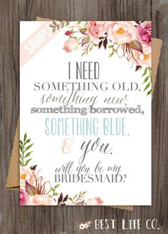 """Set of Will You Be My Bridesmaid """"The Amabel"""" Maid of Honor/Matron of Honor/Flower Girl Files(4 Included) Wedding Custom Something Blue"""