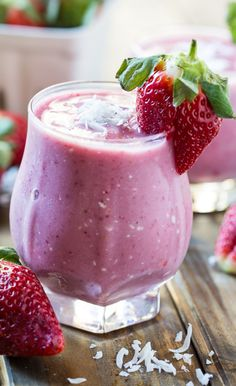 Strawberry coconut smoothie-- it looks so refreshing