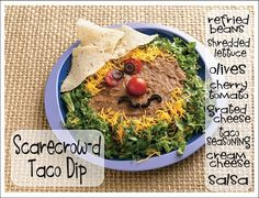 It's Written on the Wall: More Halloween Recipes -- Scarecrow-D Taco Dip, Jack-O-Lantern Pizza, Mashed Potato Monsters, Candy Corn Cookies + Halloween Dip, Halloween Party Appetizers, Halloween Scarecrow, Halloween Dinner, Halloween Desserts, Halloween Food For Party, Halloween Treats, Halloween Foods, Halloween Stuff