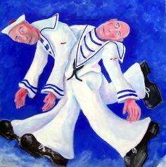 drunken sailors - Acryl/oil on board - 75x75cm - ©Henk van Merkom - 2000