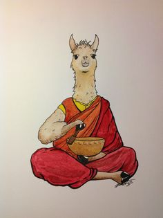 Tibetan lama needs no drama!  Drawing, ink, watercolour, funny, sketch