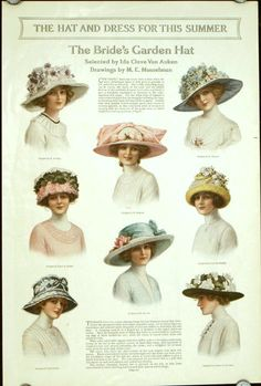 1912 ~ Ad: 'The Hat And Dress For This Summer' - (vintage lady, victorian era, millinery, fashion) Edwardian Dress, Edwardian Era, Edwardian Fashion, Vintage Fashion, Steampunk Fashion, Gothic Fashion, Fashion Fashion, Trendy Fashion, Fashion Brands